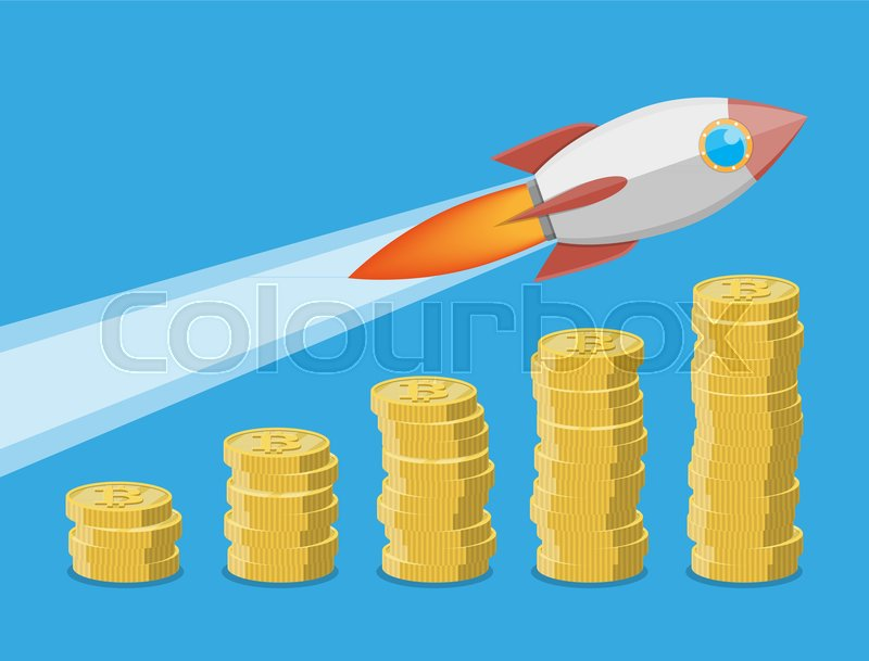 Stack Of Golden Cryptocoins Rocket Flying Up On Coins Growth Chart