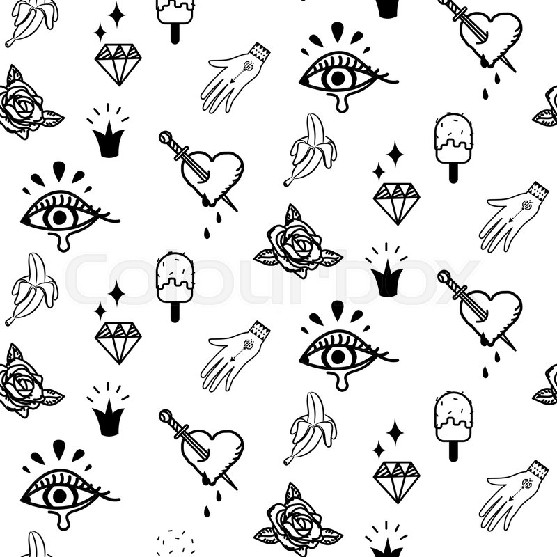 Doodle Hipster Flash Tattoo Style Stock Vector