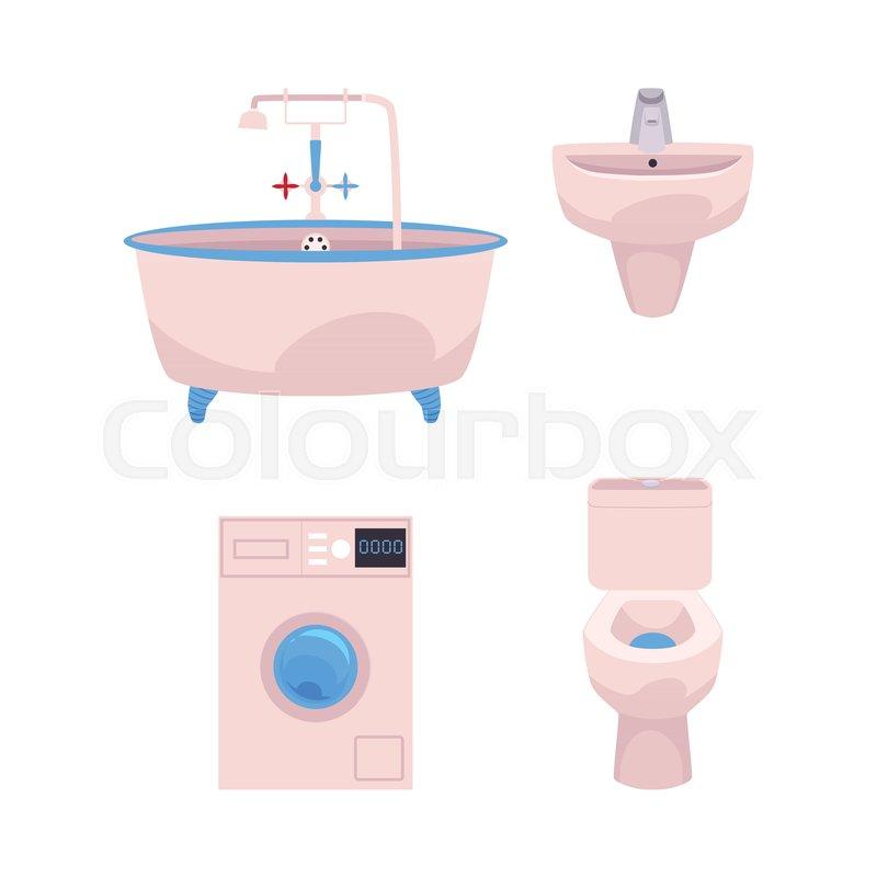 Vector cartoon bathroom appliances set. ceramic pink colored toilet ...