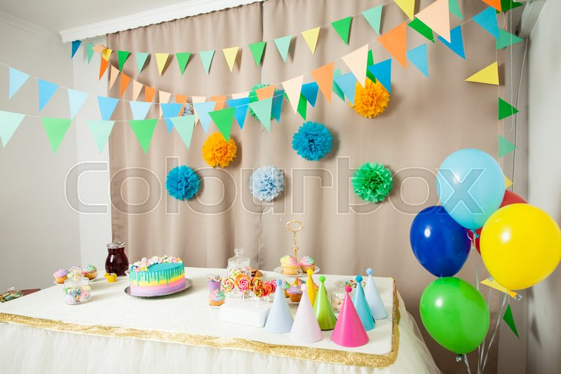 Decorated Table In The Room For Happy