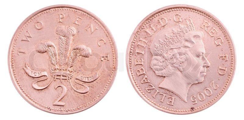 Britische Zwei Pence Münze Isoliert Auf Weißem Hintergrund