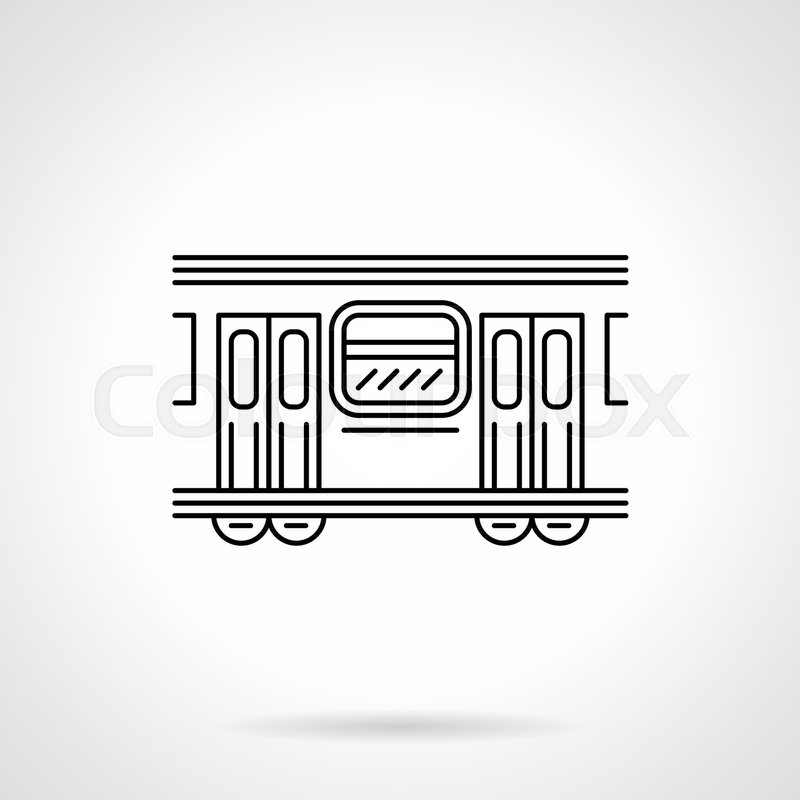 Symbol Of Side View Of Subway Train Wagon With Doors Closed