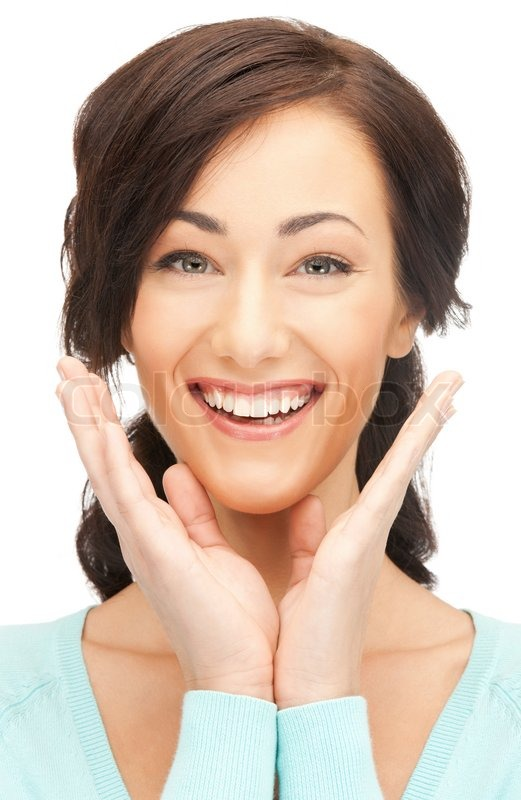 Bright picture of happy woman with expression of surprise ...