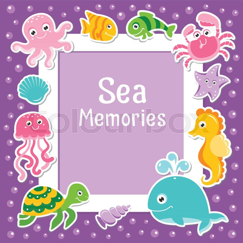 Violet Border With Cute Sea Animals Sea Frame With