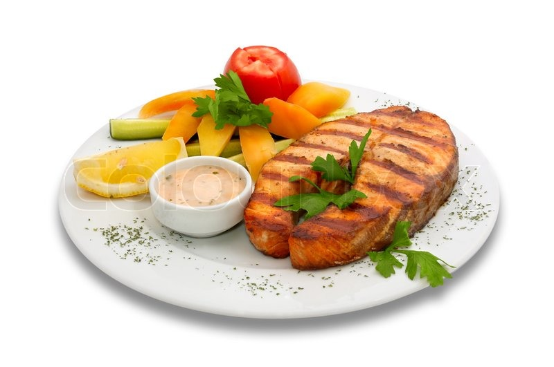 Grilled sturgeon fish with vegetables stock photo for What vegetables go with fish