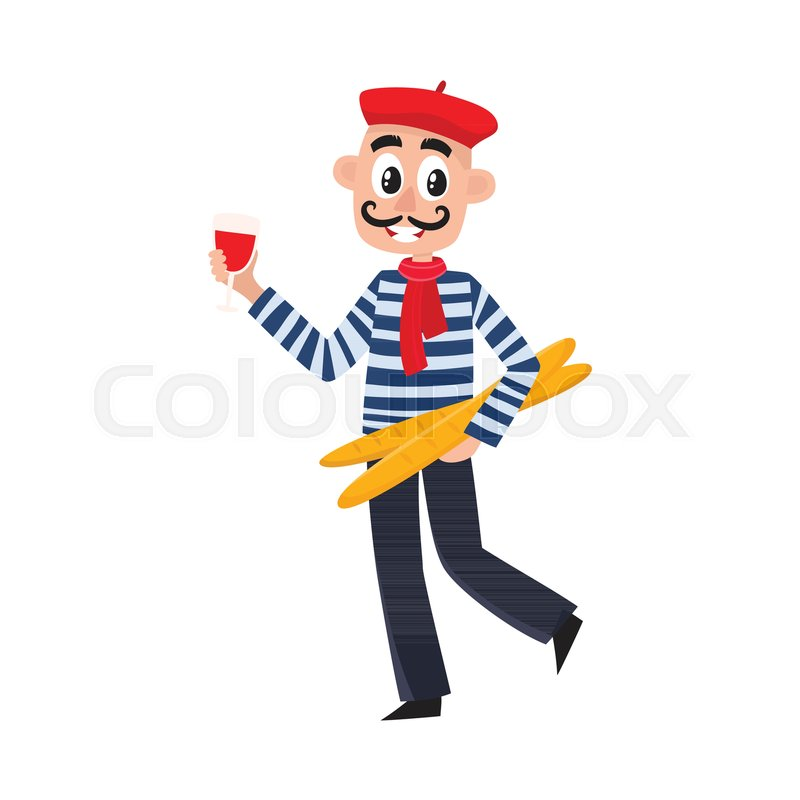 French man in striped shirt, beret and necktie holding ...