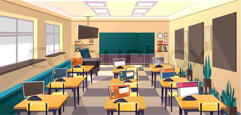 Modern Classroom Vector : Modern flat illustration education background empty