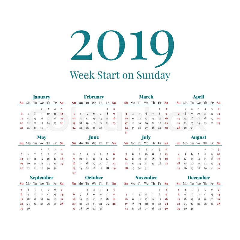 simple classic style 2019 year calendar week starts on sunday stock vector colourbox