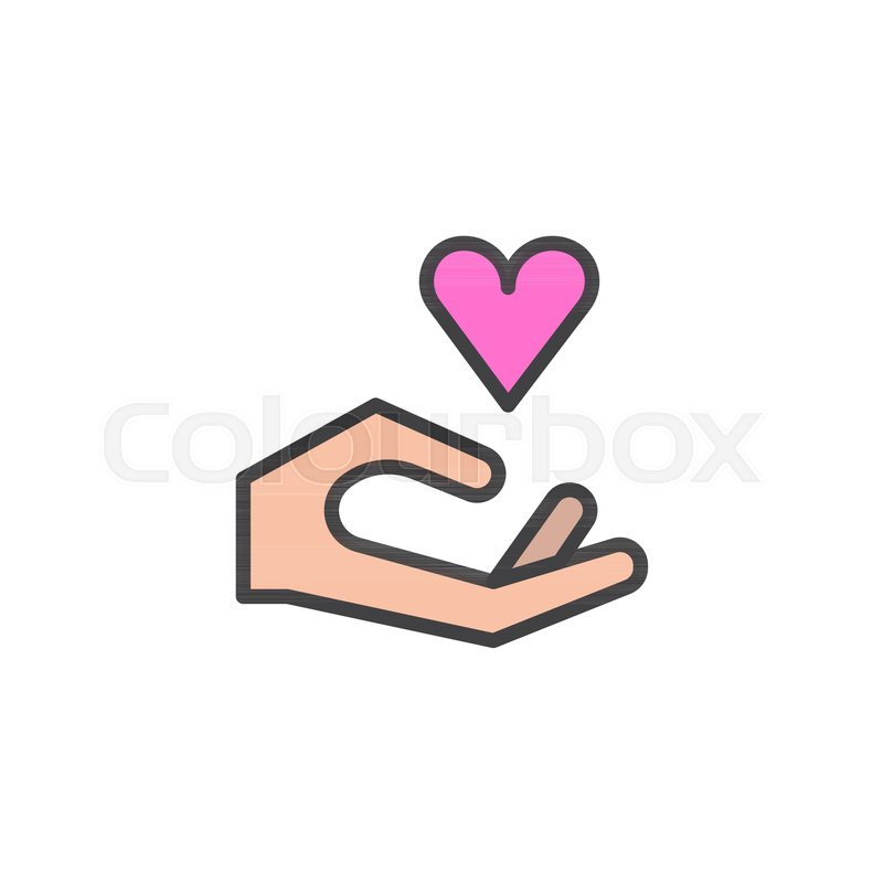 Heart In Hand Filled Outline Icon Line Vector Sign Linear Colorful Pictogram Isolated On White Love And Valentines Day Symbol Logo Illustration