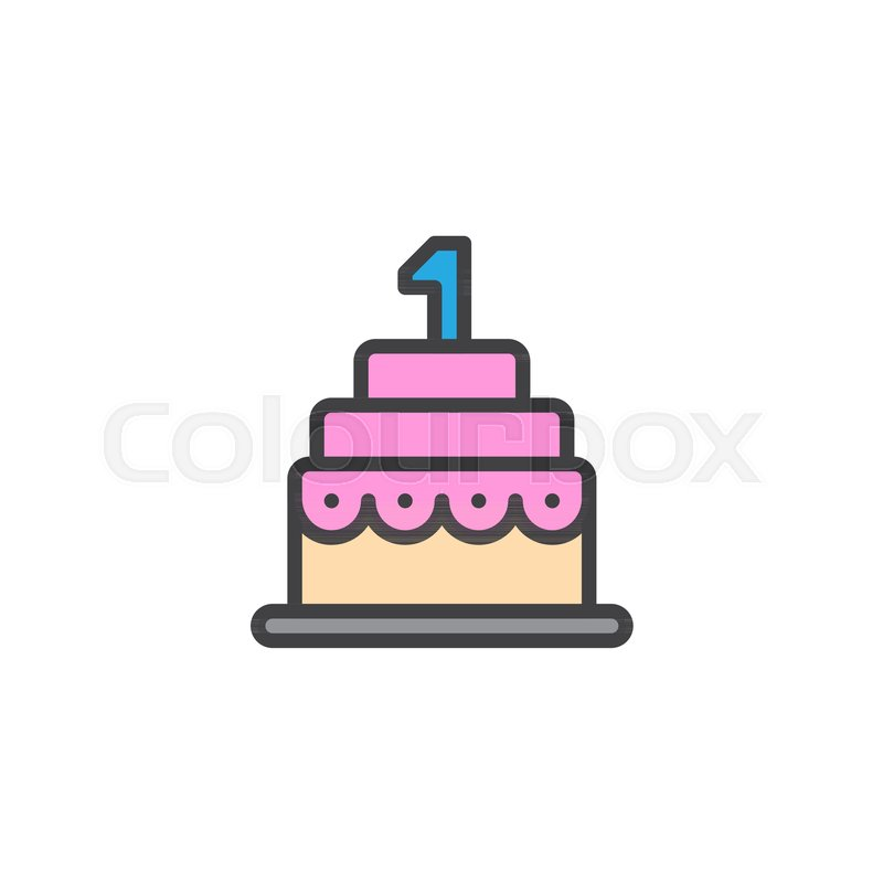 Birthday Cake Filled Outline Icon Line Vector Sign Linear Colorful