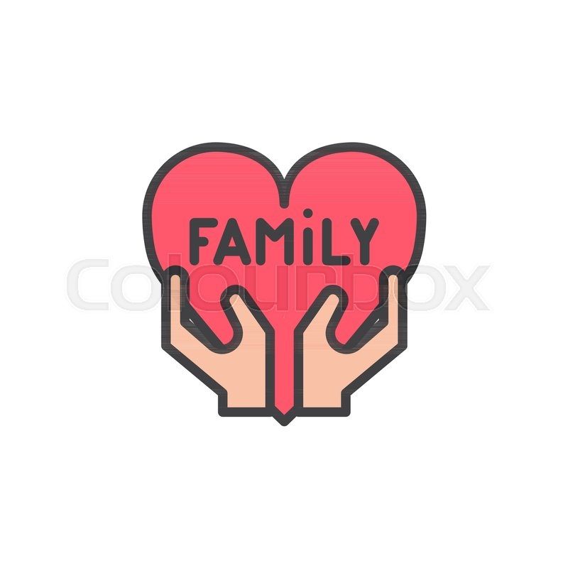 Family Love Filled Outline Icon Line Stock Vector Colourbox