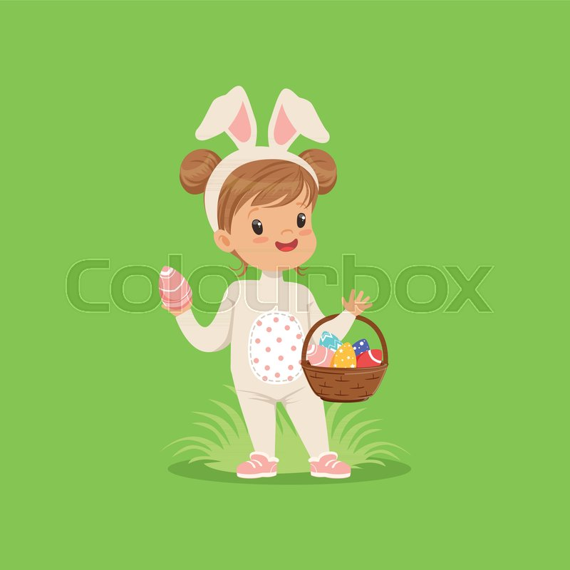 Sweet little girl with bunny ears and rabbit costume standing with basket full of painted eggs kid having fun on Easter egg hunt vector Illustration on a ... & Sweet little girl with bunny ears and rabbit costume standing with ...