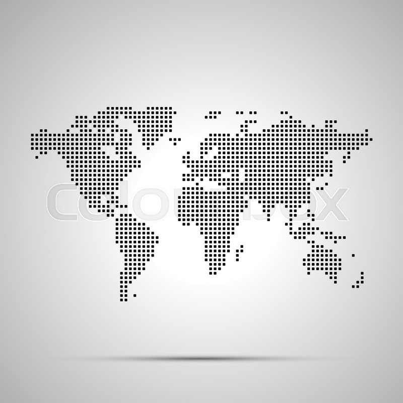 Simple world map pixelated silhouette ... | Stock vector ... on blue world map vector, simple world map vector, black white world map vector, detailed world map vector,