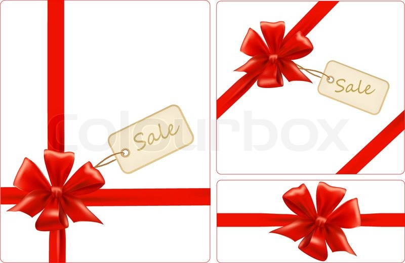 group of red gift bow with ribbons and sale label vector stock