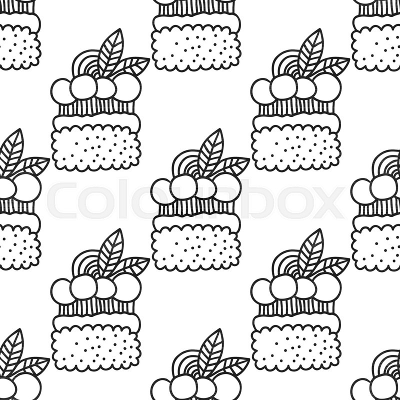 Stock Vector Of Cakes And Cupcakes Black White Seamless Pattern For Coloring Books