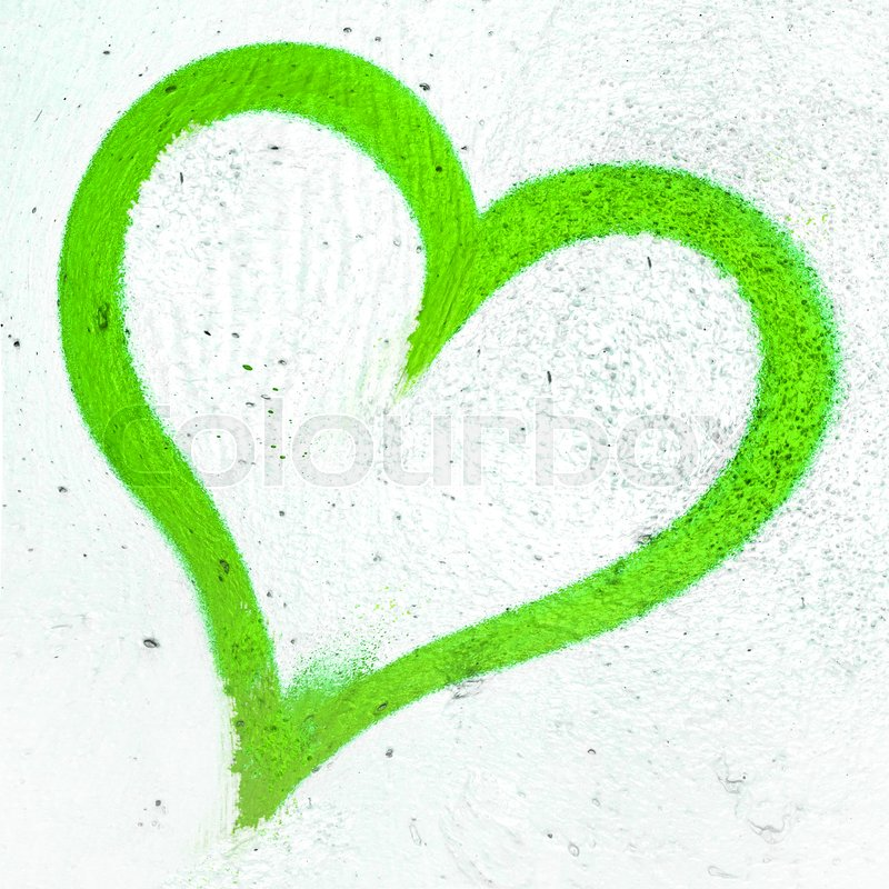 Concept Or Conceptual Painted Green Abstract Heart Shape Love Symbol