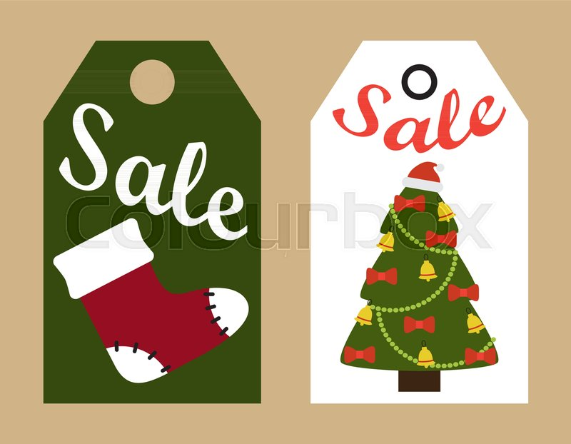 sale promo tags ready to use labels decorated christmas trees and red santa sock promotional advert stickers vector illustrations promo badges stock - Decorative Christmas Labels