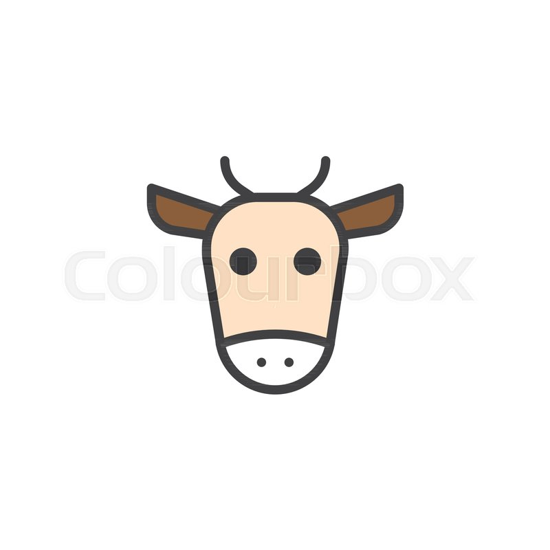 Cow Head Filled Outline Icon Line Vector Sign Linear Colorful