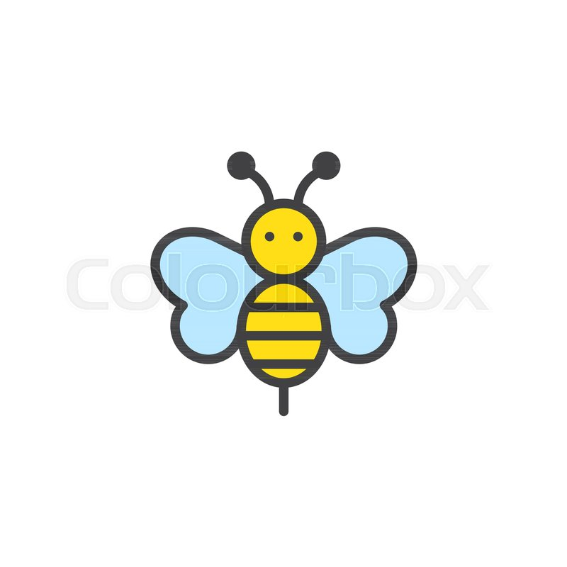 Bee animal filled outline icon, line vector sign, linear colorful ...
