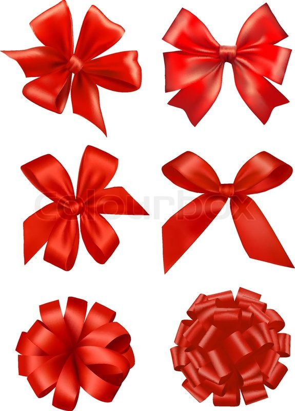 Big Set Of Red Gift Bows With Ribbons Vector Stock Vector Colourbox