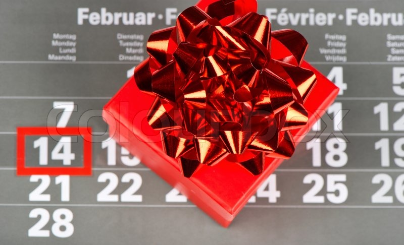 red gift for valentine's day 14 february on calendar background, Ideas