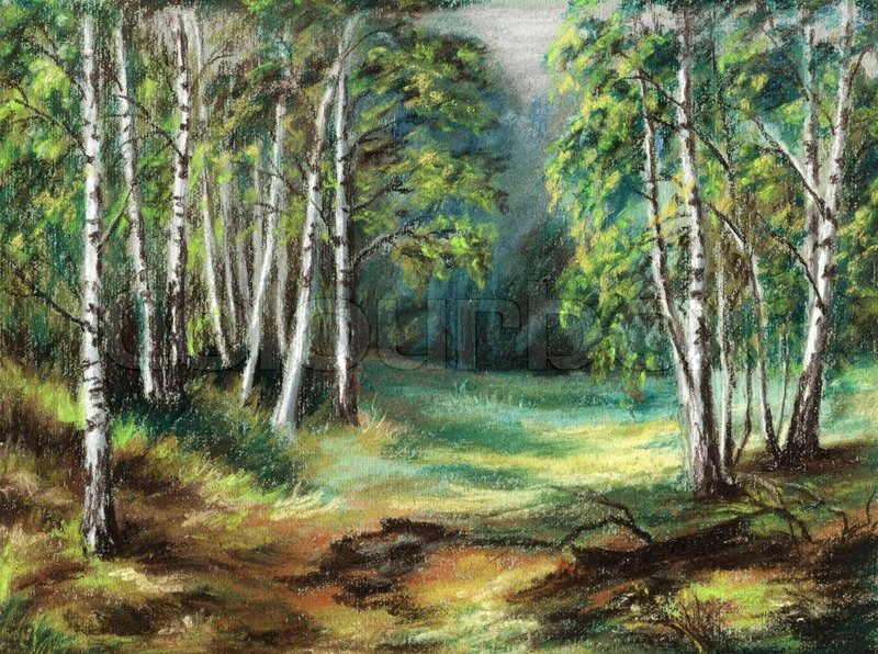 Picture Russian Siberian Natural Wood Landscape Drawing A Pastel On Cardboard