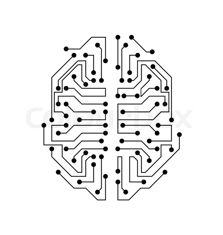 Stylized Brain. Circuit Board Texture, Electricity Mind ...