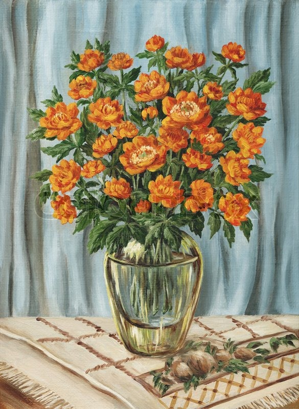 Flowers Bouquet Of Trollius In A Glass Vase Picture Oil Paints On A