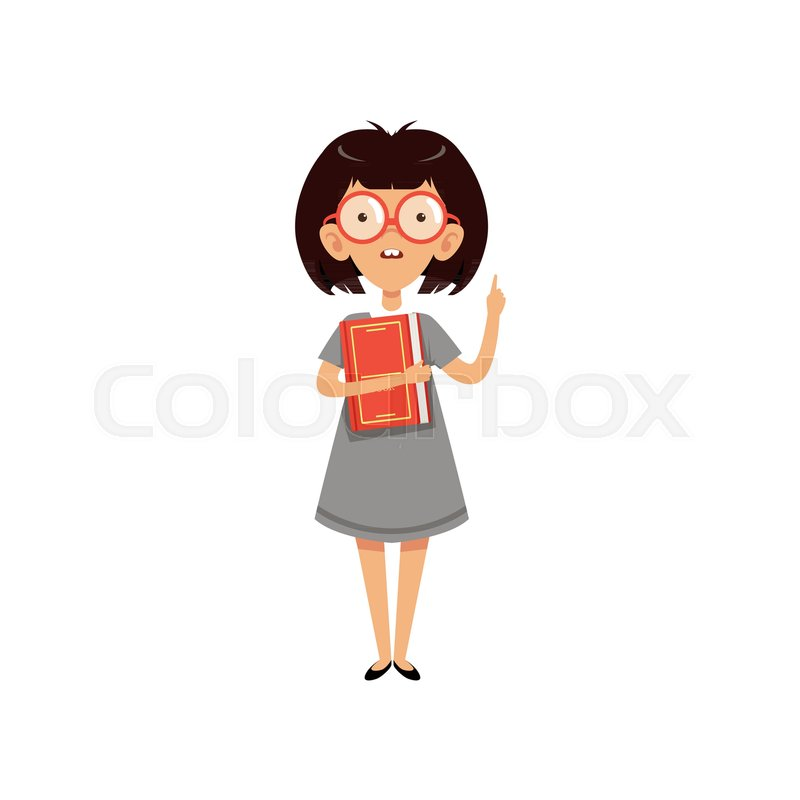 funny nerd girl holding book and index finger up cartoon