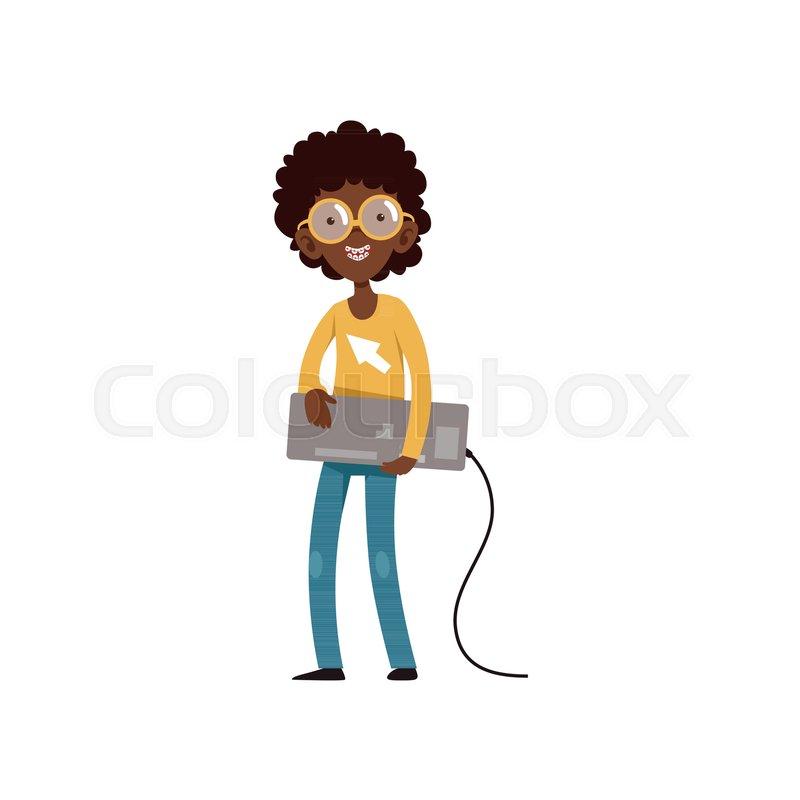 Computer Geek Character With Keyboard Stock Vector Colourbox