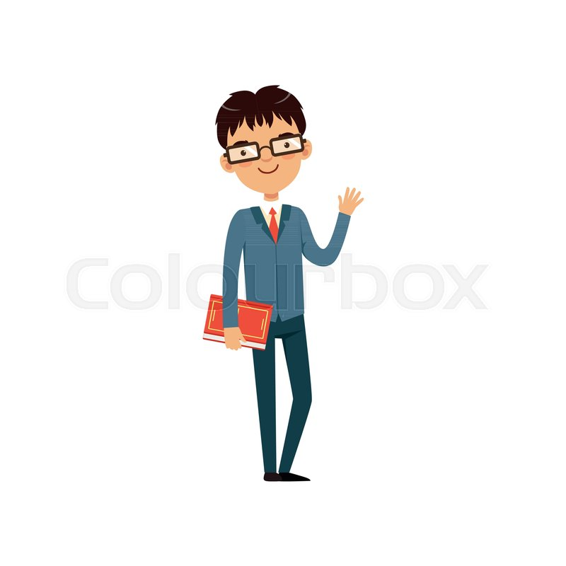 Book Icon Vector Male Student Or Teacher Person Profile: Intelligent Teacher Or Student Holding ...