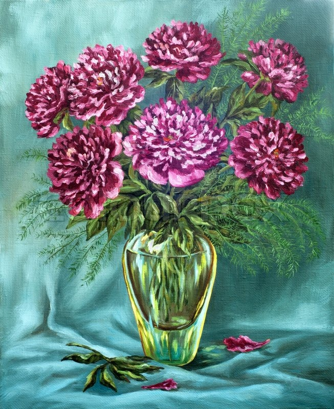 Picture Oil Paints On A Canvas A Bouquet Of Peonies In A Glass Vase