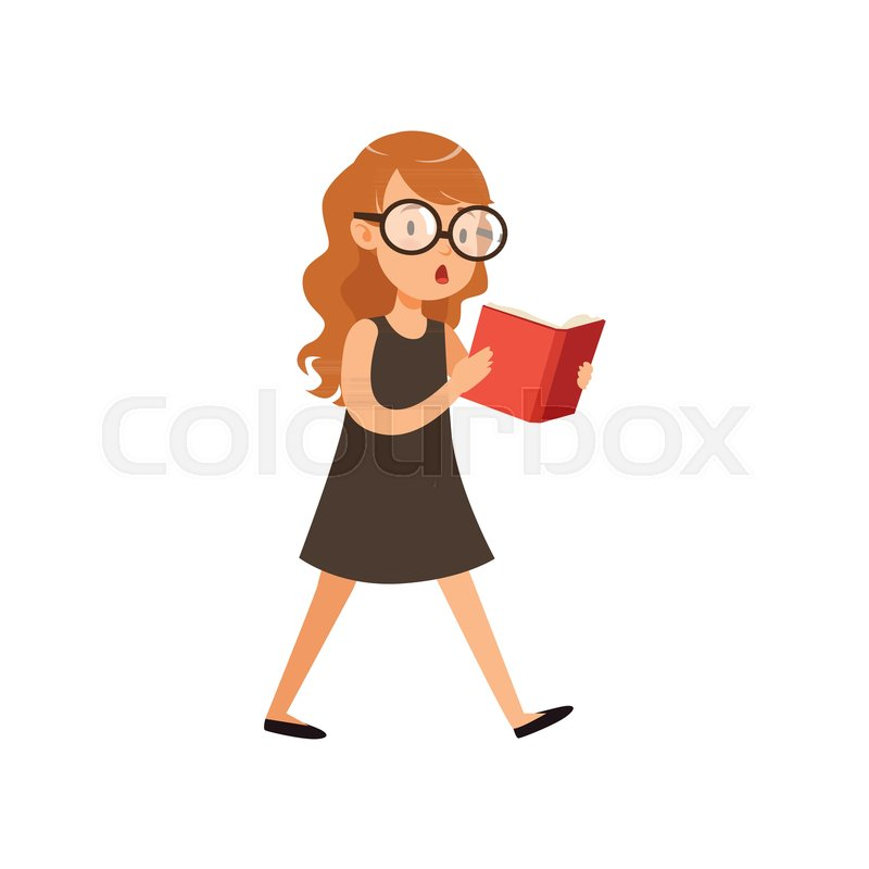 Cartoonsmart Character Design : Cute nerd girl walking and reading book pupil with