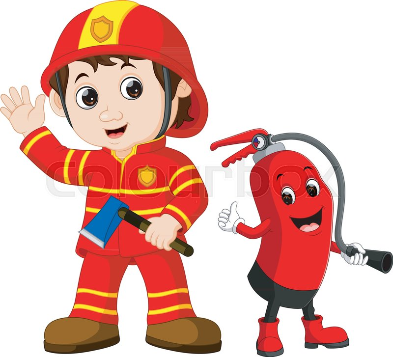 illustration of rescue firefighter man holds iron axe and fire rh colourbox com Cartoon Firefighter Girl Funny Firefighter Cartoons