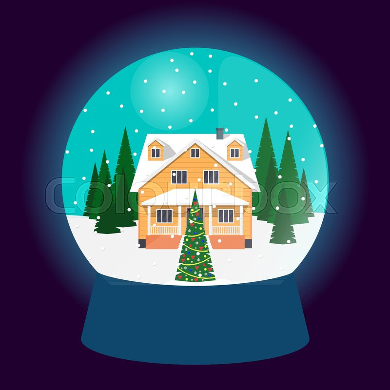 Christmas In Evergreen Snow Globe.Snow Globe Traditional Christmas Stock Vector Colourbox