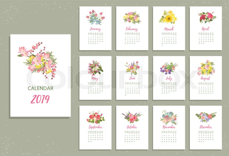 Printable 2019 Calendar With Pretty Stock Vector Colourbox