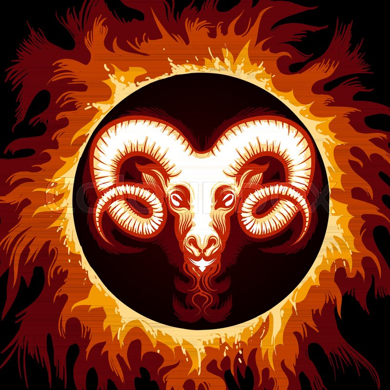 Ram Head In Flame Zodiac Symbol Aries On Fire Background Vector