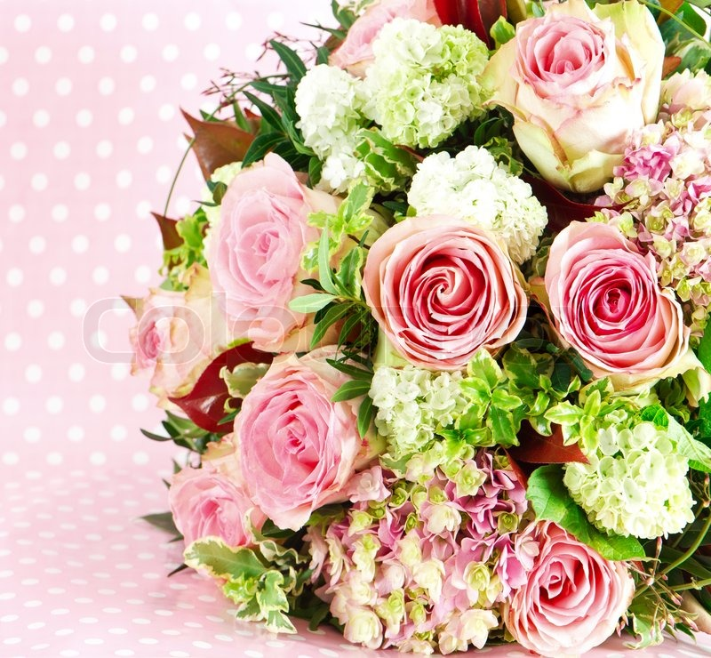 Beautiful Flowers Bouquet Of Pink Roses Stock Photo