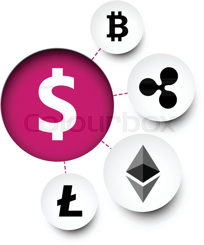 Diagram With Us Dollar And Cryptocurrency Symbols Vector Paper