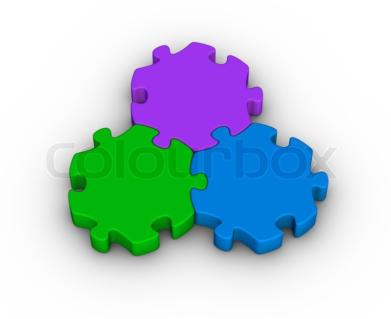 Three Jigsaw Pieces Unity Symbol