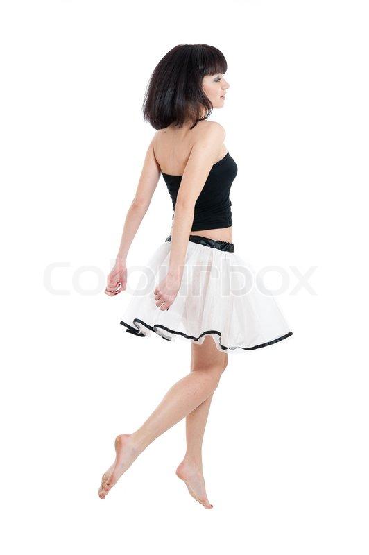 Ung pige i gennemsigtig nederdel | Stock foto | Colourbox