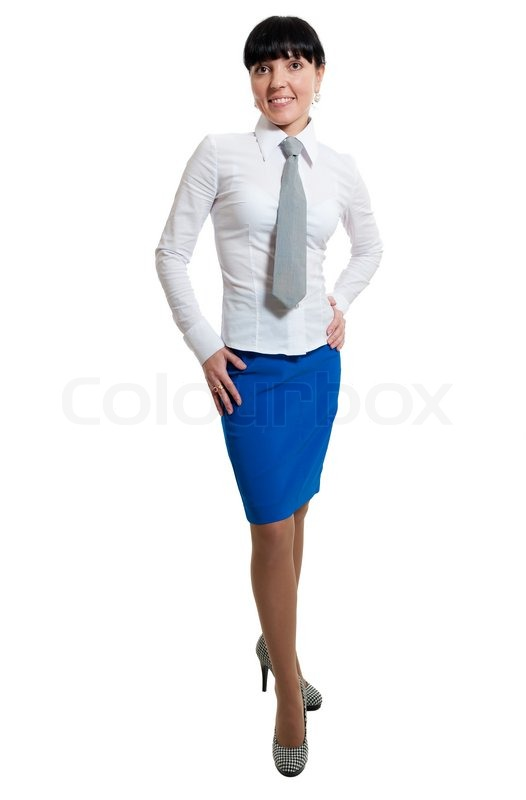 Beauty women in white shirt and blue skirt isolated on white ...