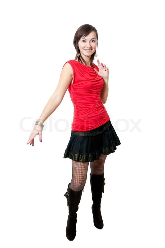c936ec18d608 Stock image of 'Beauty women in red blouse and black skirt isolated on  white background
