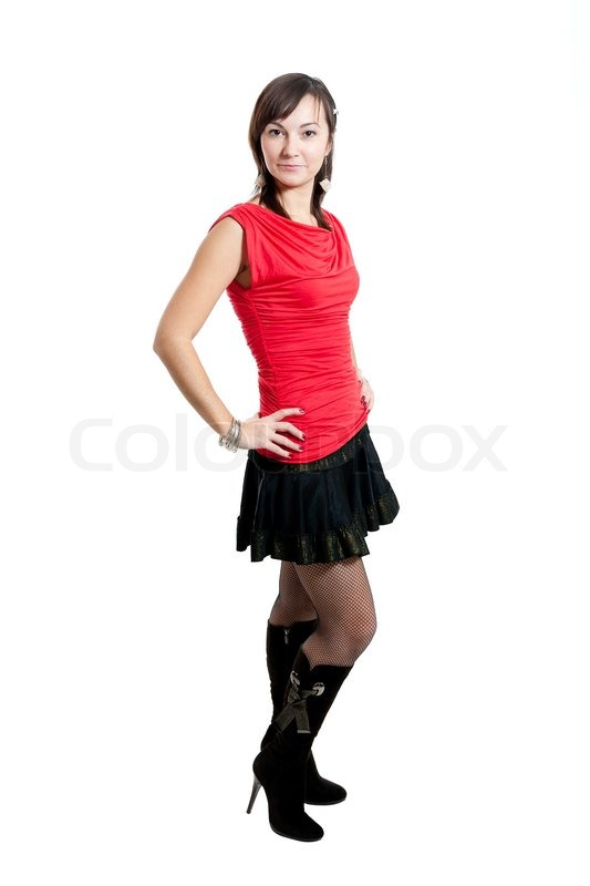 736d6ace38 Beauty women in red blouse and black ... | Stock image | Colourbox