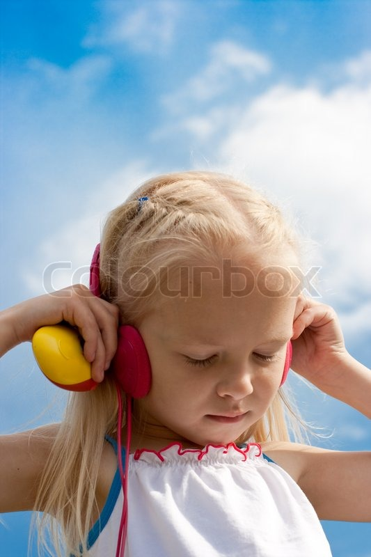 Little blonde girl with closed eyes red     | Stock image | Colourbox