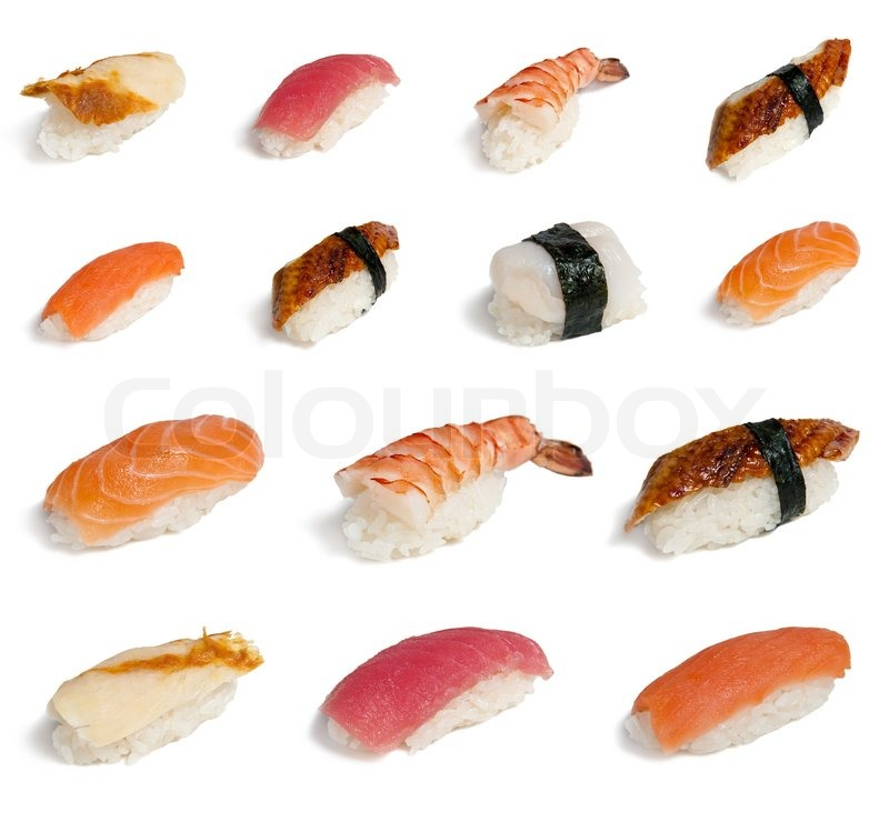 Set of different sushi isolated on white stock photo for Sushi fish names