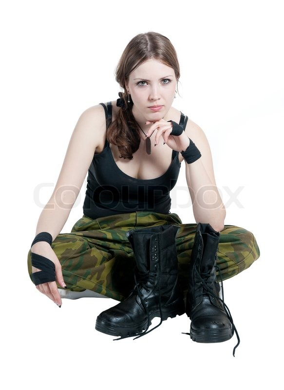 The Girl In A Military Uniform Isolated Stock Photo
