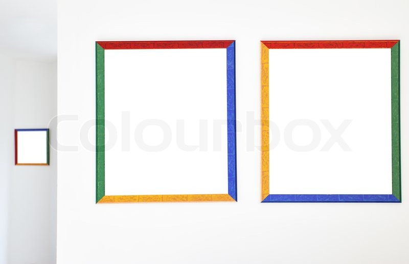 Stock image of colorful frames on the wall at art gallery