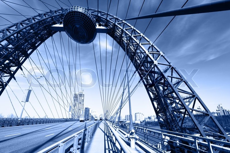 Stock image of 'Modern suspension bridge toned in blue color Moscow Russia'