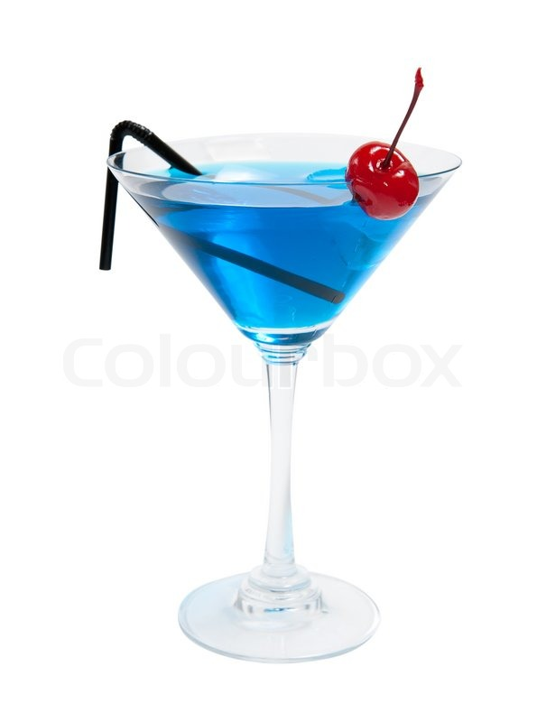 Cocktail blue lagoon isolated on white background stock for Blue lagoon cocktail